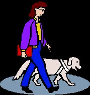 Seeing eye dog and woman