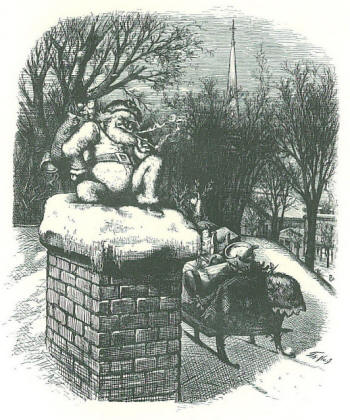 Santa on Chimney, 1874, by Thomas Nast