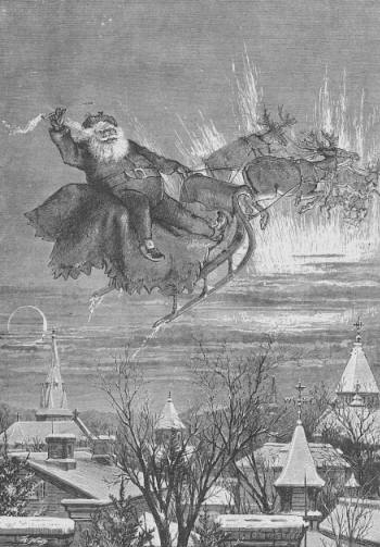 Santa and Reindeer, Thomas Nast, 1879