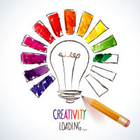 "a lightbulb surrounded by a rainbow with with caption ""Creativity loading"""
