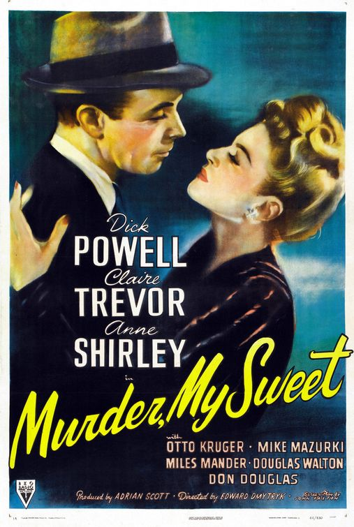 "Movie cover for ""Murder, My Sweet""; a man and woman embracing"