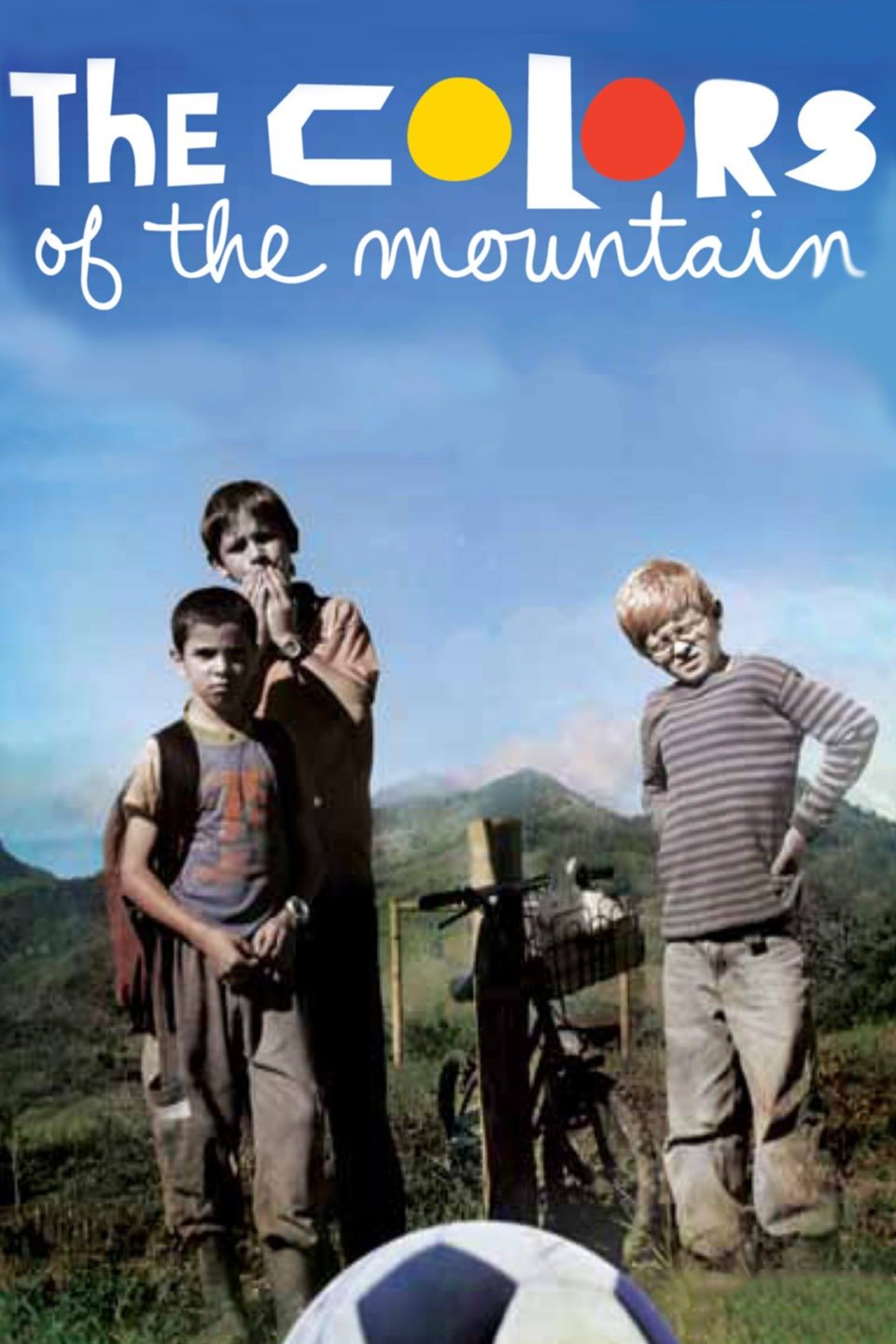 "Movie cover ""The Colors of the Mountain""; three young boys stand outdoors by a bike and soccer ball"