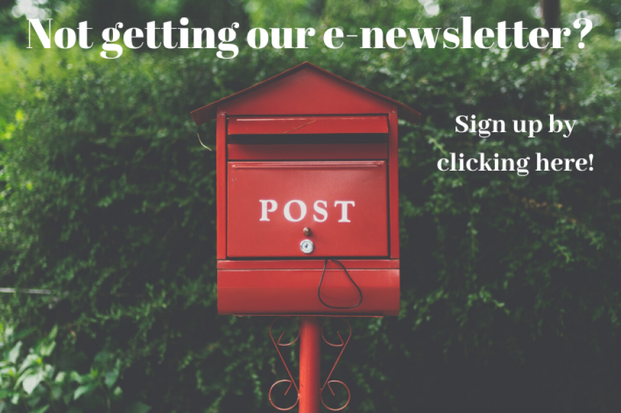 Not getting our e-newsletter? Sign up by Clicking here!