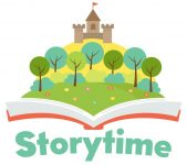"""A cartoon castle springing out of a book and the word """"storytime"""" below."""