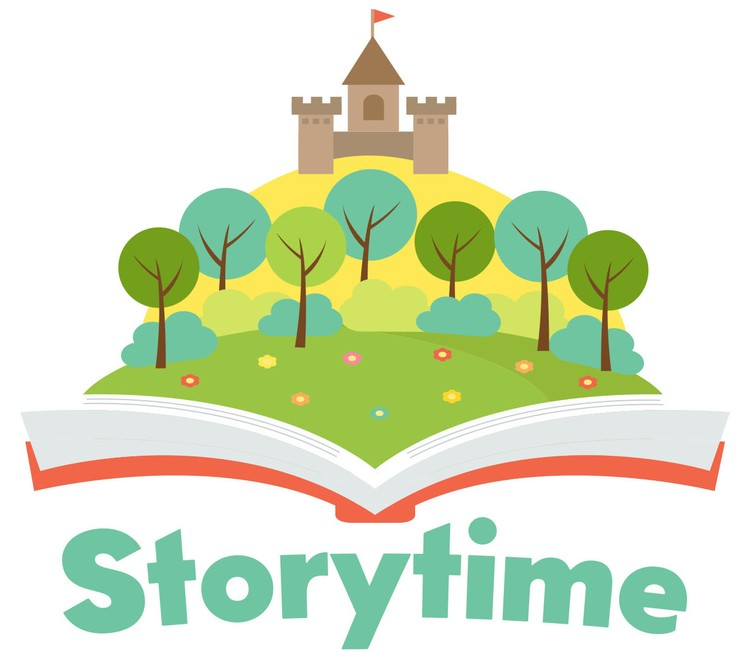 "A cartoon castle springing out of a book and the word ""storytime"" below."