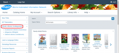 "Screenshot of MAIN library catalog. The link to ""eAudio, eBooks, and eMagazines"" at the left sidebar of the page is circled in red."