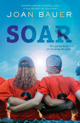 "A book cover with teammates huddling together. Book is ""Soar"" by Joan Bauer."