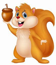 A cartoon squirrel holding up an acorn.