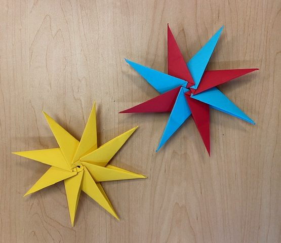 2 origami 8-pointed stars